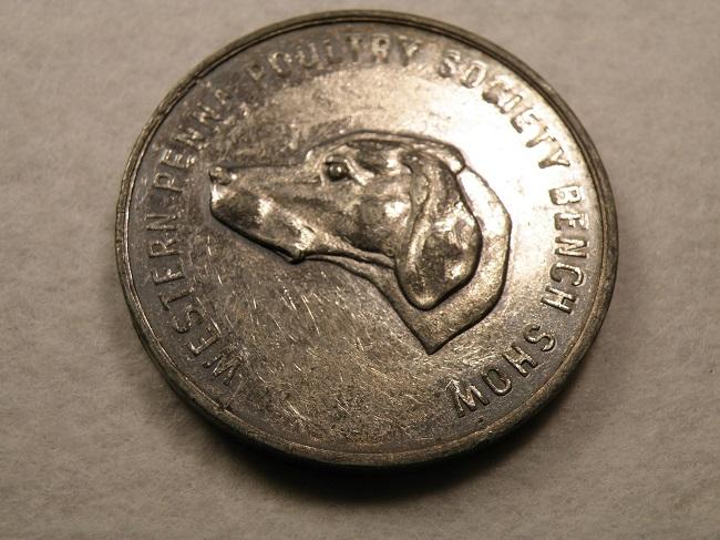Yosemite Kennel Club 69mm Near Mint Condition#BCEB-77 Award Medal ?? Medallion Merced, California Silvertone Dog Show