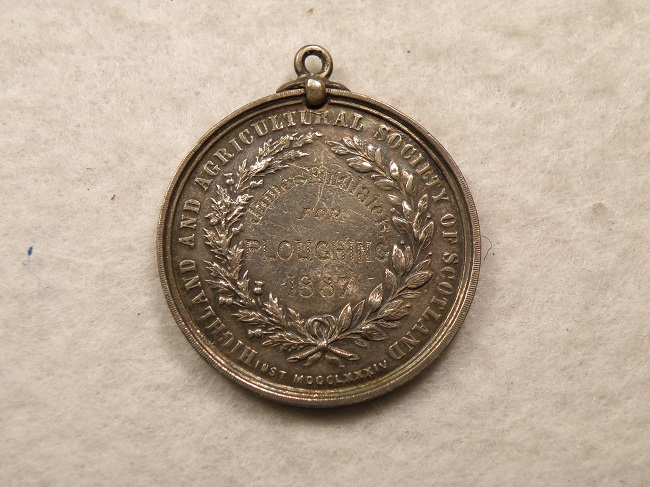SCOTLAND AWARDED 1887 APRICULTURALMEDAL PLOUGHING STERLING - Click Image to Close