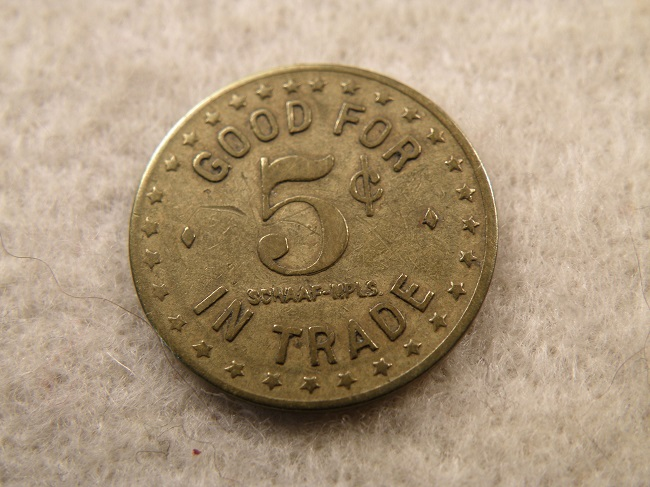 DUNNELL, MINN. PAULSON'S CONFECTIONERY 5¢ TOKEN - Click Image to Close
